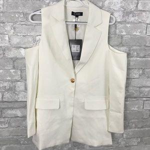 Missguided White Cold Shoulder Blazer